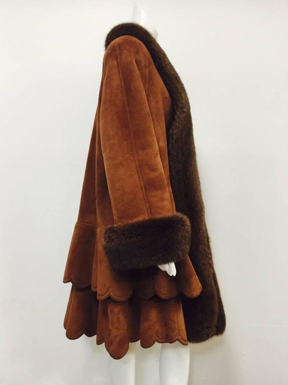 Christia Cognac Shearling Swing Coat With Fox Trim and Scalloped Tiered Hem 3
