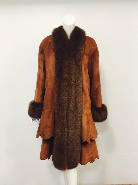 Christia Cognac Shearling Swing Coat With Fox Trim and Scalloped Tiered Hem 2