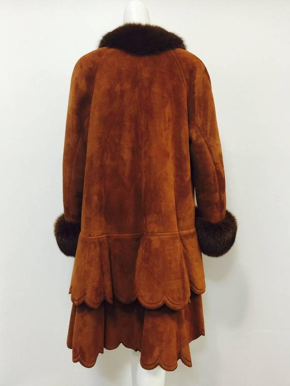 Christia Cognac Shearling Swing Coat With Fox Trim and Scalloped Tiered Hem 5