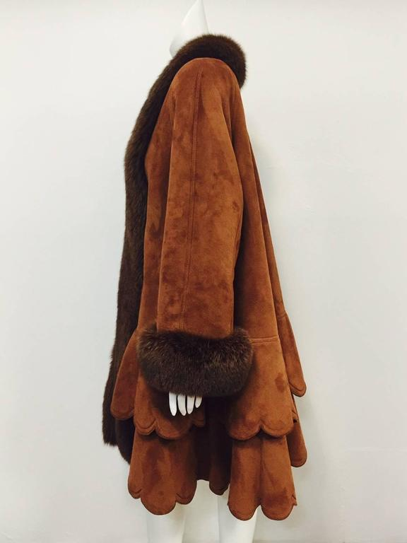 Christia Cognac Shearling Swing Coat With Fox Trim and Scalloped Tiered Hem 4