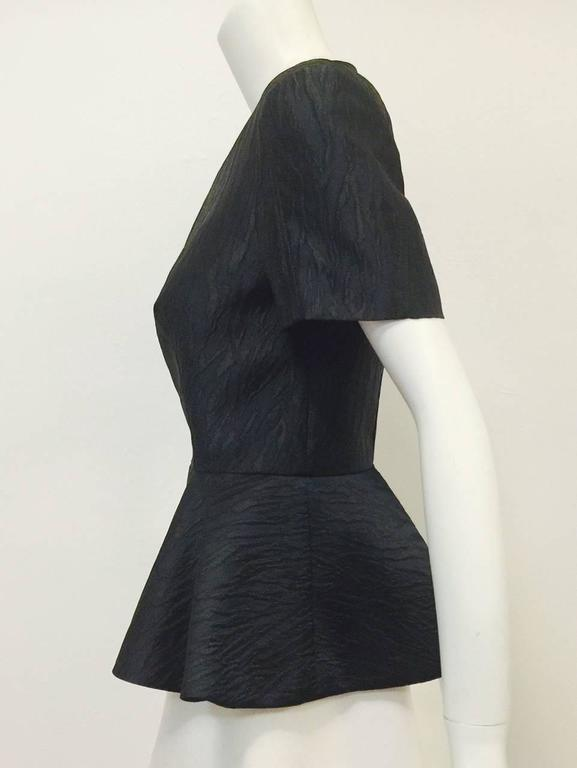 Women's Alexander McQueen Black and Blue Brocade Blouse With Peplum Sz 46 For Sale