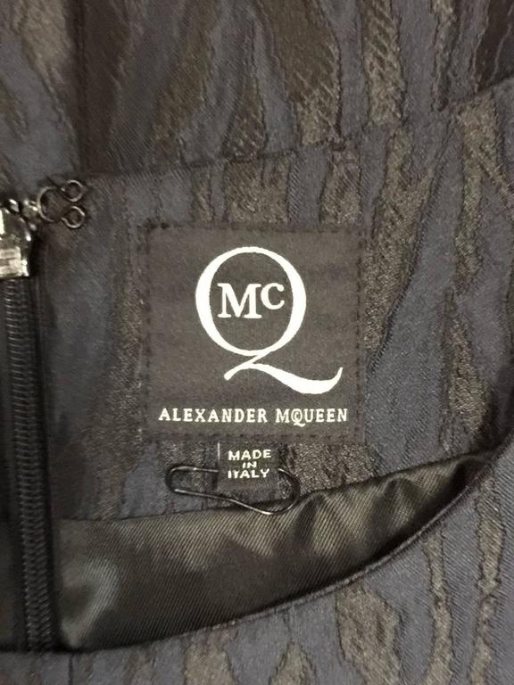 Alexander McQueen Black and Blue Brocade Blouse With Peplum Sz 46 For Sale 1