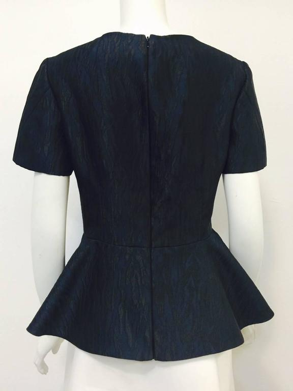 Alexander McQueen Black and Blue Brocade Blouse With Peplum Sz 46 In Excellent Condition For Sale In Palm Beach, FL