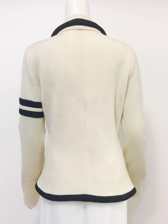 Balenciaga Fitted Ivory Wool Jersey Jacket With Shawl Collar and Black Trim  3