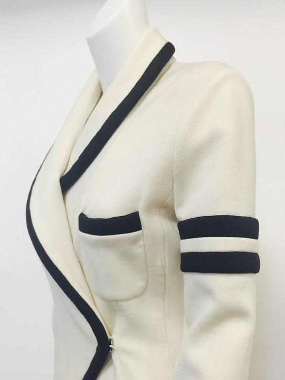 Balenciaga Fitted Ivory Wool Jersey Jacket With Shawl Collar and Black Trim  4
