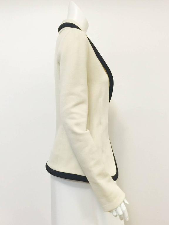 Balenciaga Fitted Ivory Wool Jersey Jacket With Shawl Collar and Black Trim  2