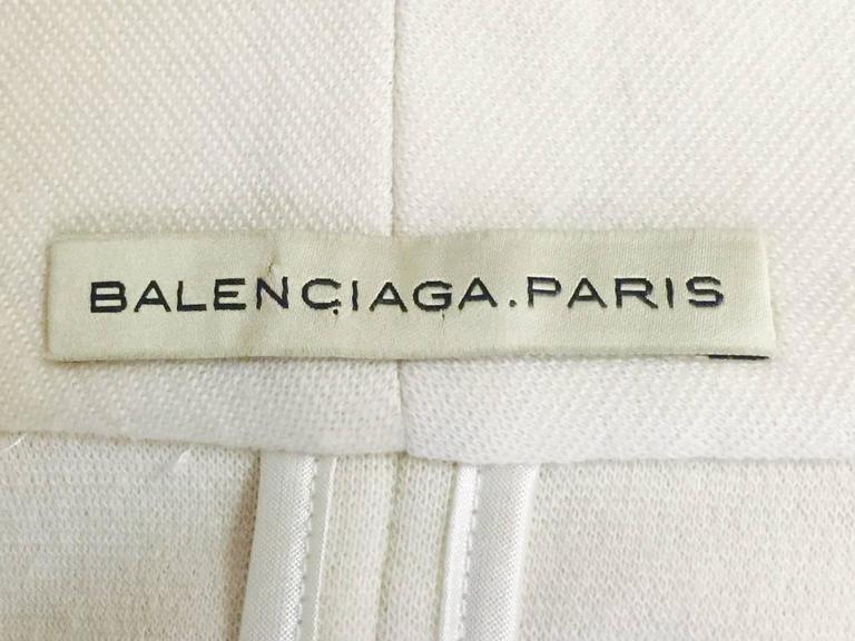Balenciaga Fitted Ivory Wool Jersey Jacket With Shawl Collar and Black Trim  5
