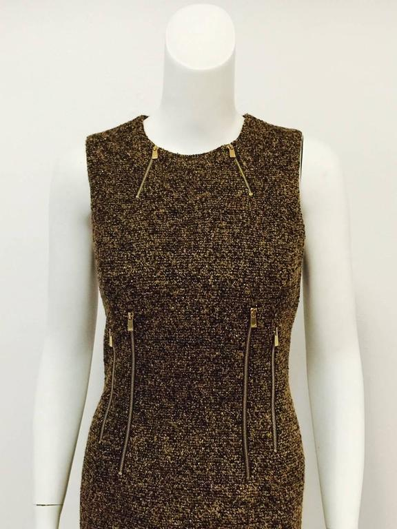 3571a818d5ec Michael Kors Made in Italy Gold Metallic Boucle Sheath With Zipper Detail  For Sale. Gold Metallic Sheath shows why Michael Kors has become one of  America s ...