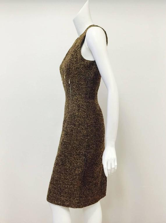 ea5297304c7d Michael Kors Made in Italy Gold Metallic Boucle Sheath With Zipper Detail  In Excellent Condition For