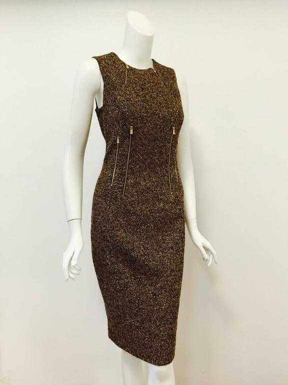 6fb3484e9950 Women s Michael Kors Made in Italy Gold Metallic Boucle Sheath With Zipper  Detail For Sale