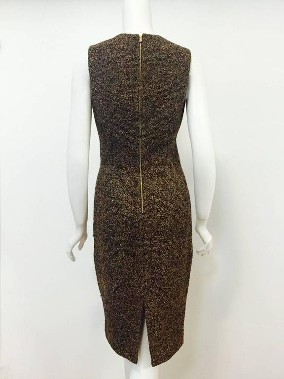 3c176989d70c Black Michael Kors Made in Italy Gold Metallic Boucle Sheath With Zipper  Detail For Sale