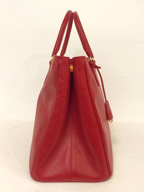 118c899d17de canada new prada saffiano lux gardeners tote bag in rapturous red in new  condition for sale