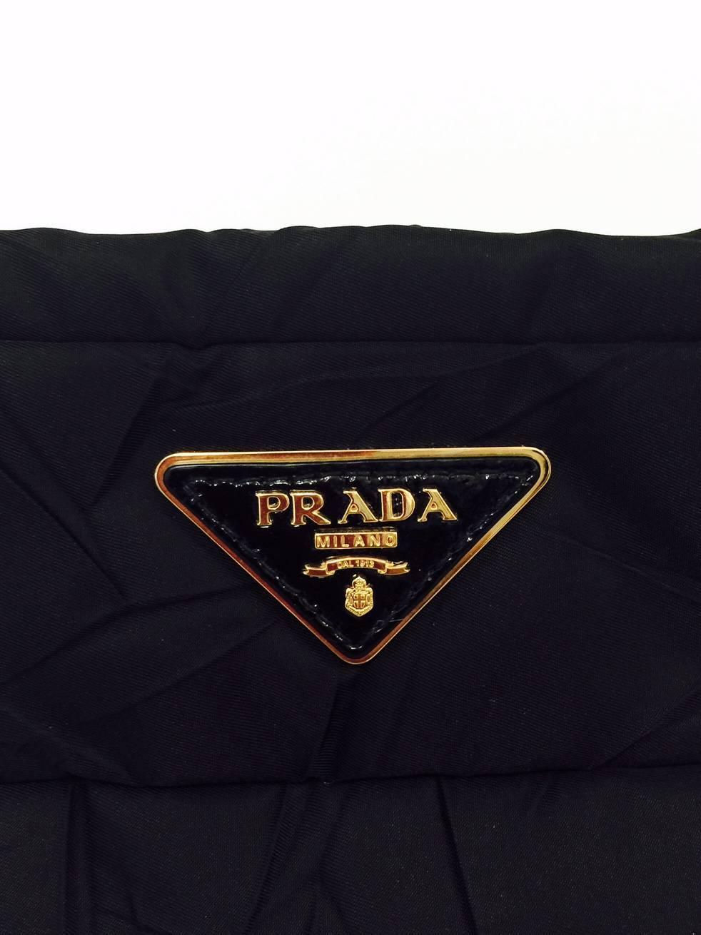 Prada Black Quilted Nylon Handbag With Patent Leather Handle and ...