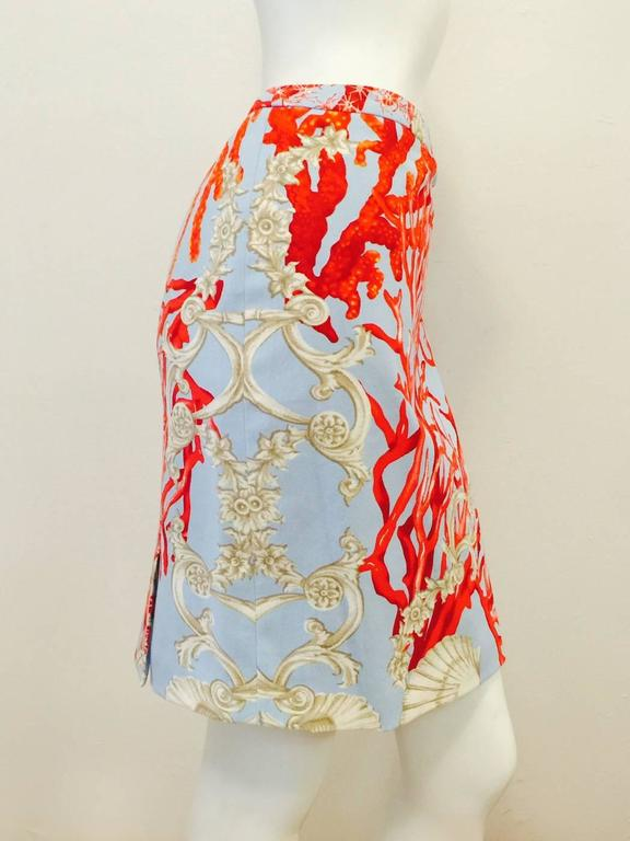 Versace Cotton Marine Life Print Straight Skirt With Double Vent Rear 2