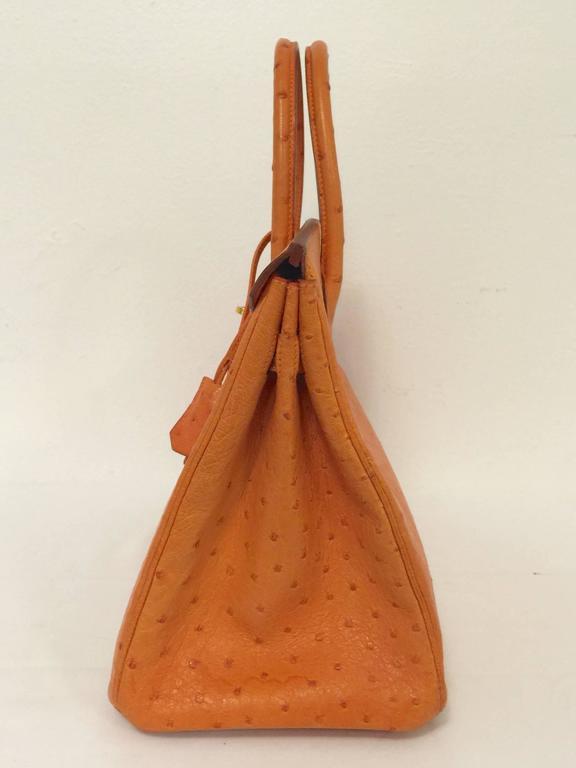 a381d91b3a4e 2002 hermes birkin 30 orange ostrich ghw wbonus orange tassel key ring 4