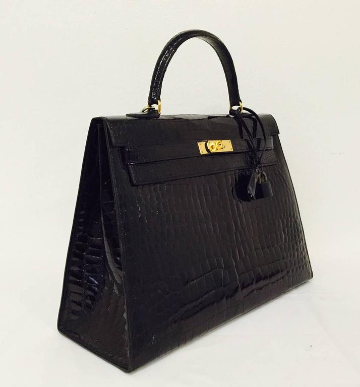 Hermes Black Shiny Crocodile Kelly 35 GHW Above Excellent Condition w. Cadena 2