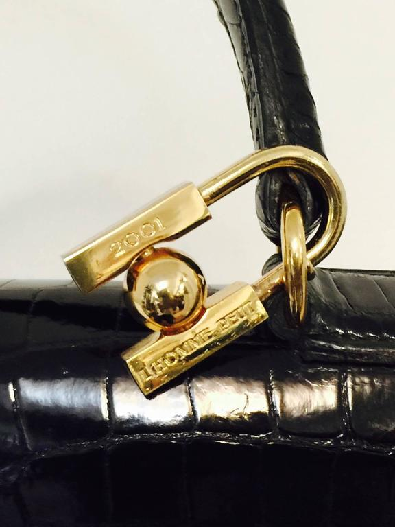 Women's Hermes Black Shiny Crocodile Kelly 35 GHW Above Excellent Condition w. Cadena For Sale