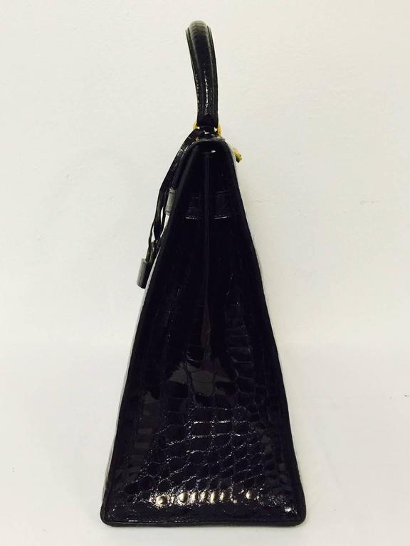 Hermes Black Shiny Crocodile Kelly 35 GHW Above Excellent Condition w. Cadena For Sale 1