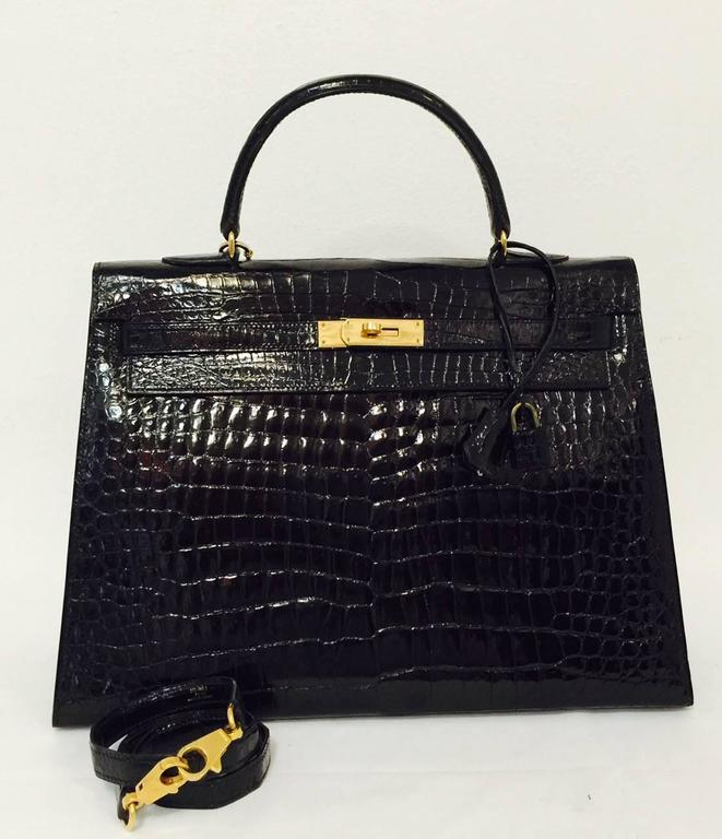 Hermes Black Shiny Crocodile Kelly 35 GHW Above Excellent Condition w. Cadena 9