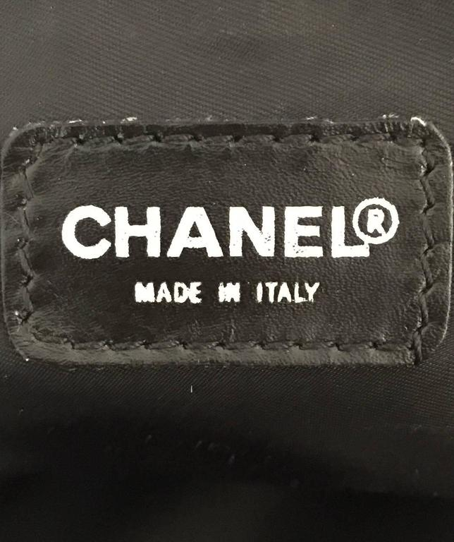 Chanel Black Leather and Logo Print Fabric Carry On Luggage No. 7078271 For Sale 4