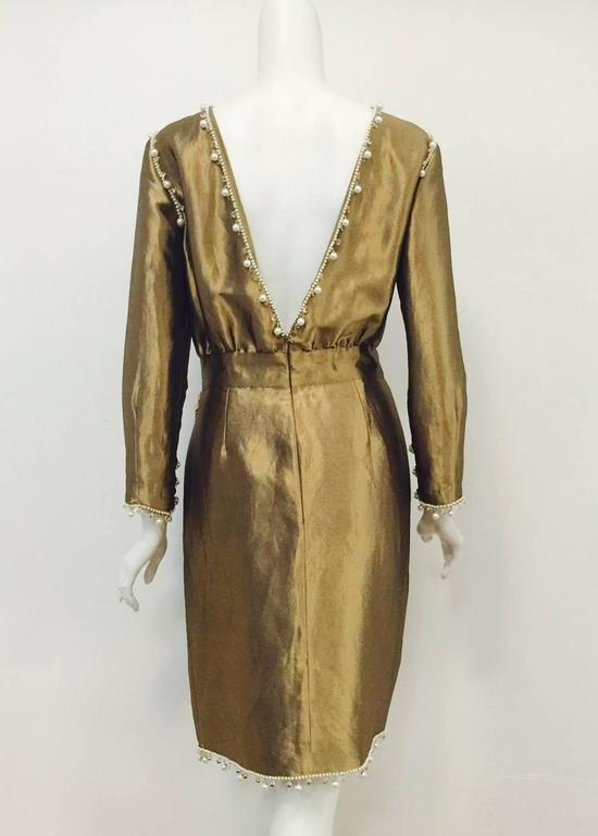 Chanel Antique Gold Metal And Silk Cocktail Dress With