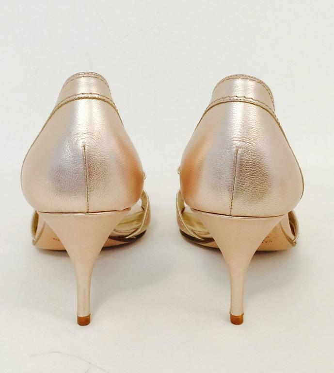 9b8bee192dcf Valentino Garavani Rose Gold Metallic Leather High Heel Sandals In  Excellent Condition For Sale In Palm