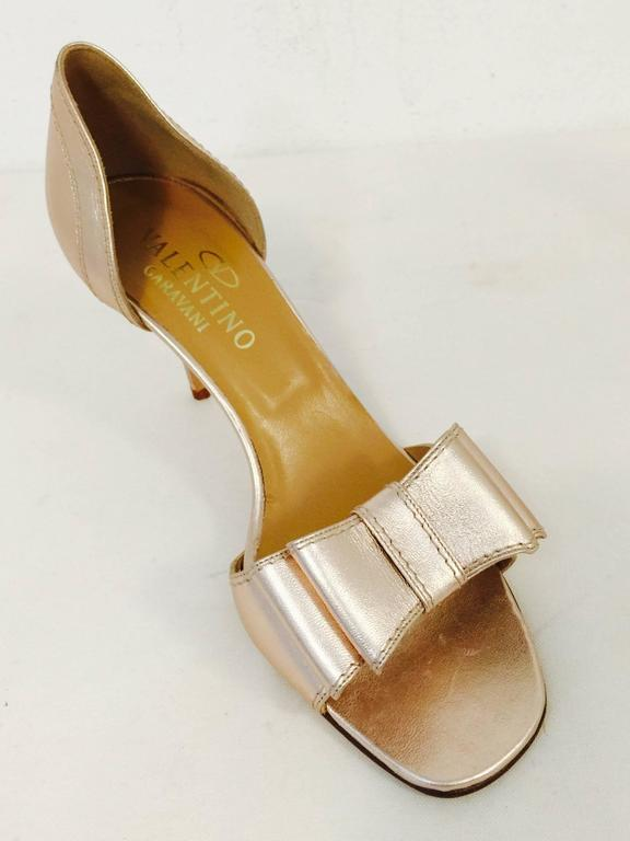 Valentino Garavani Rose Gold Metallic Leather High Heel ...