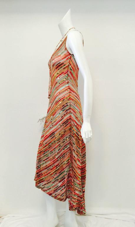 Missoni Multi Color Knit Sequined Dress With Hi Low Flared