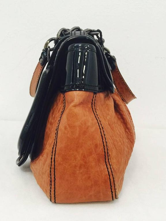 1d8a5455bf2a Fendi Tan Nappa Vernice Black Patent Leather B Bag Excellent Condition! In  Excellent Condition For