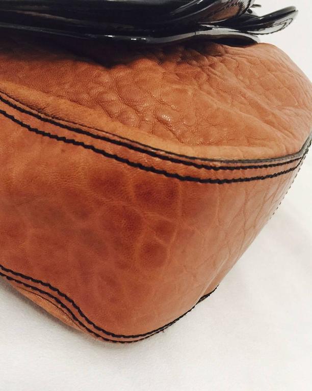 95f2b0ba09b1 Fendi Tan Nappa Vernice Black Patent Leather B Bag Excellent Condition! For  Sale 4