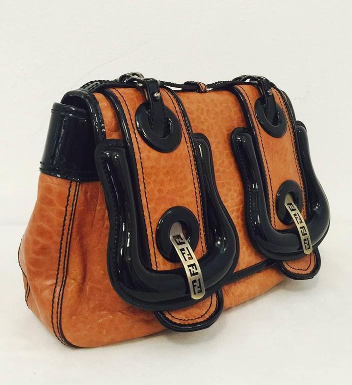 e904e2364321 Women s Fendi Tan Nappa Vernice Black Patent Leather B Bag Excellent  Condition! For Sale