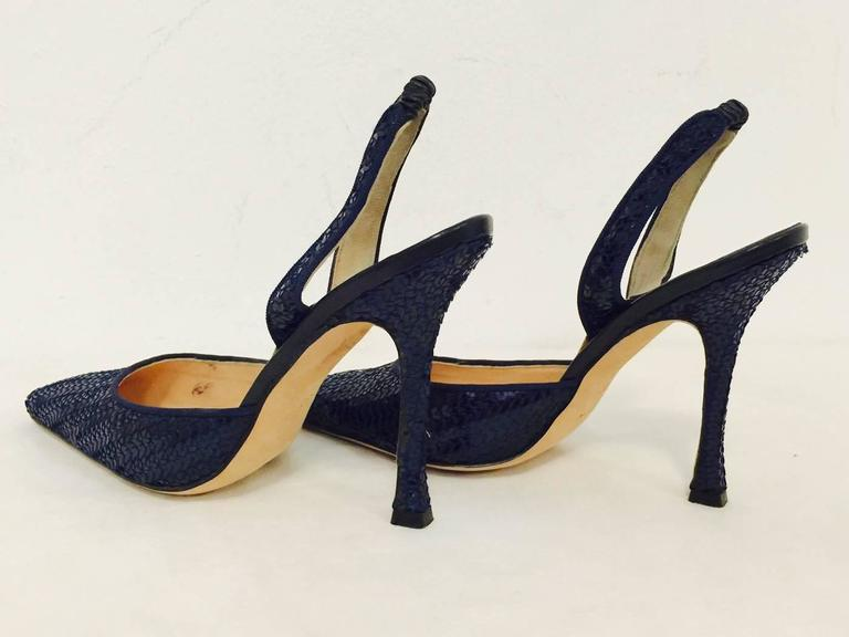 f6372c9af6d Black Magnificent Manolo Blahnik Pointed Toe Midnight Blue Sequined Slingback  Heels For Sale