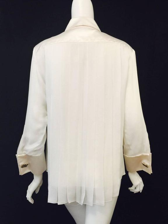 Classic Chanel Pleated Ivory Silk And Silk Satin Blouse