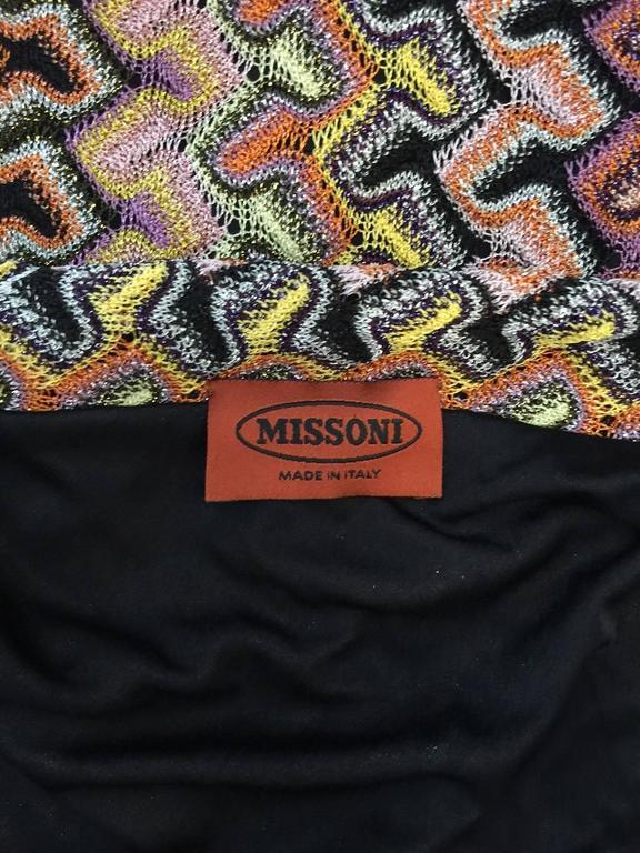Missoni Multi Color Knit Straight Skirt With Tie and Dramatic Fringe Hem For Sale 1