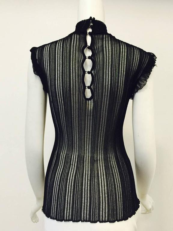 Roberto Cavalli Black Stretch Lace Cap Sleeve Top With Mock Turtle Neck 3