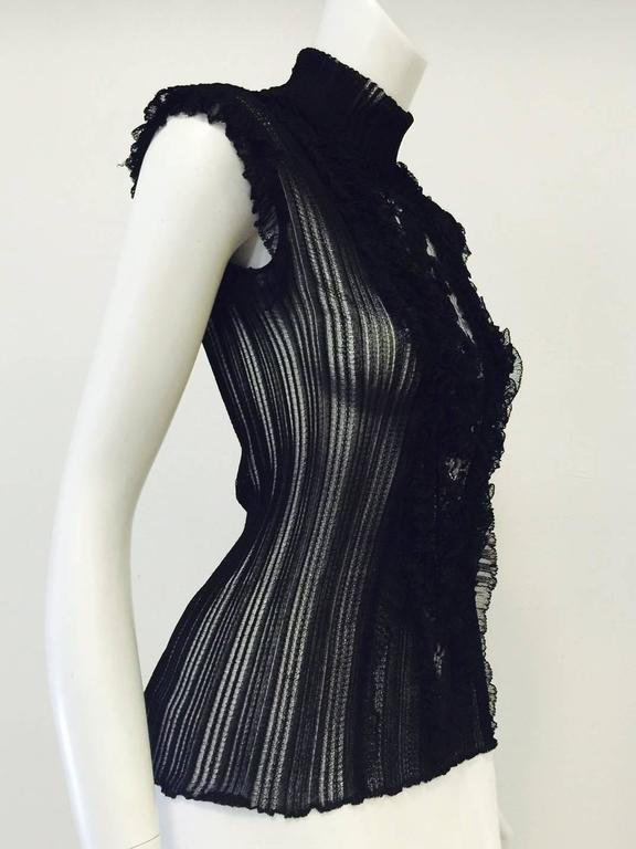 Roberto Cavalli Black Stretch Lace Cap Sleeve Top With Mock Turtle Neck 2