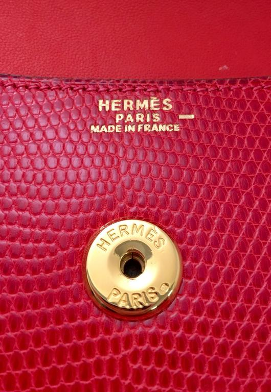 Hermes Red Lizard Envelope Clutch 5