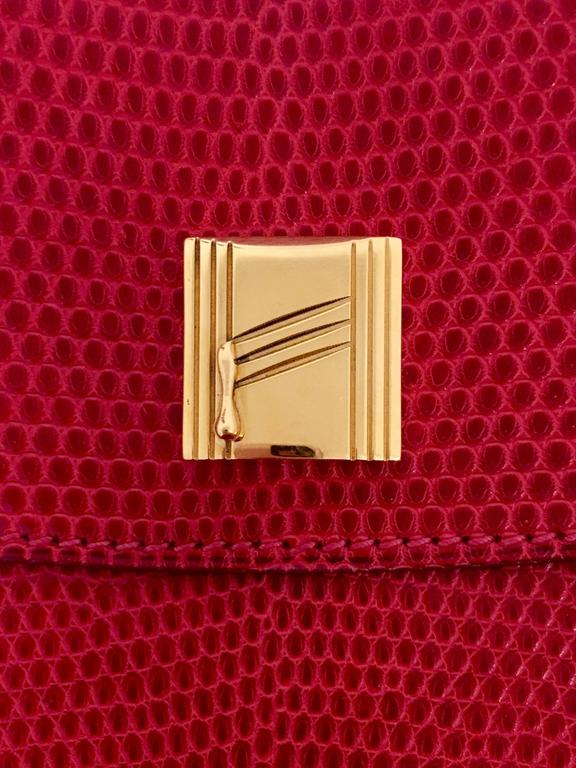 Hermes Red Lizard Envelope Clutch 4