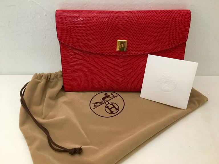 Hermes Red Lizard Envelope Clutch 2
