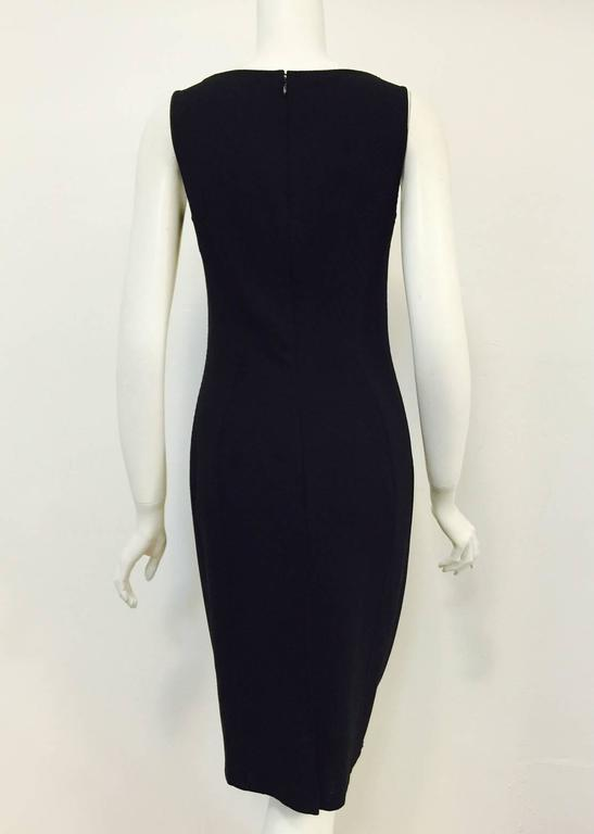 Classic Chado Ralph Rucci Sleeveless Sculpted Black Wool Sheath Dress In Excellent Condition For Sale In Palm Beach, FL