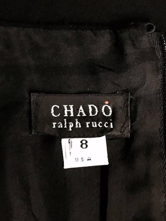 Classic Chado Ralph Rucci Sleeveless Sculpted Black Wool Sheath Dress For Sale 3