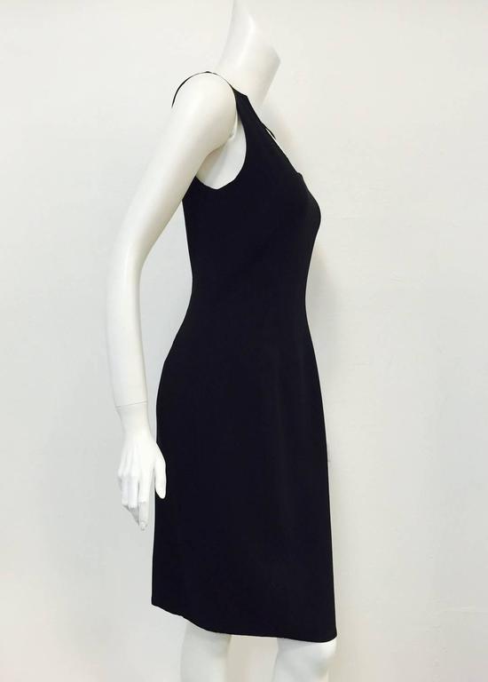 Classic Chado Ralph Rucci Sleeveless Sculpted Black Wool Sheath Dress For Sale 4