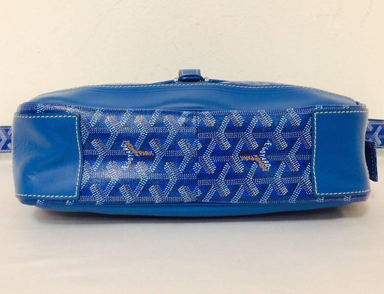 Goyard Blue Goyardine Urbain Messenger Cross Body Shoulder Bag In Excellent Condition In Palm Beach, FL