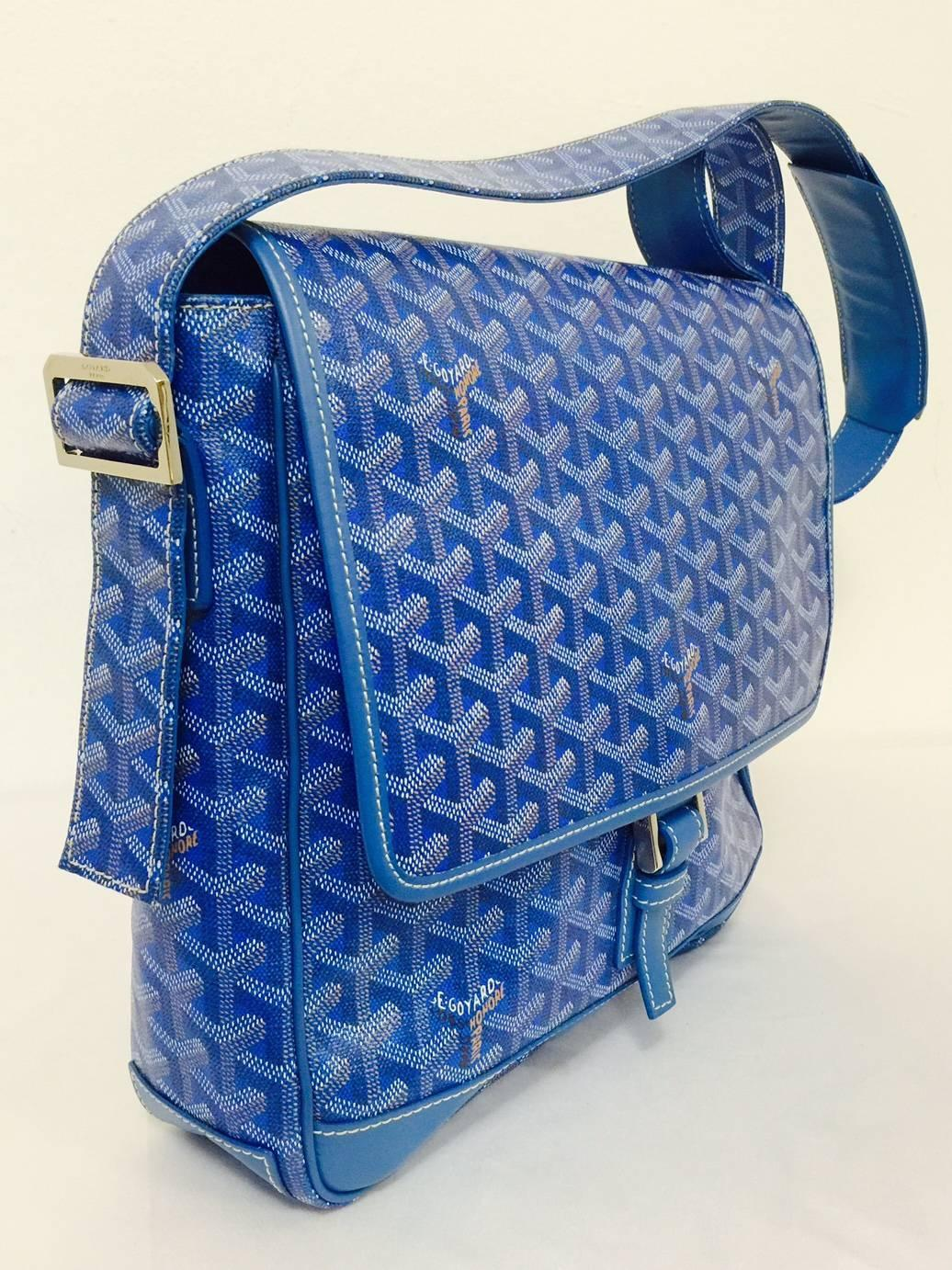 Goyard Blue Goyardine Urbain Messenger Cross Body Shoulder ...