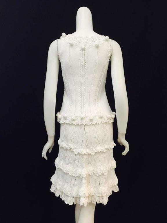 Gray Oscar de la Renta White Cotton Crochet Camisole and Skirt Ensemble  For Sale