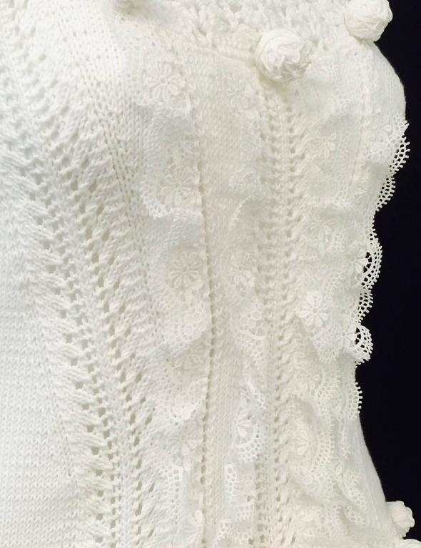 Oscar de la Renta White Cotton Crochet Camisole and Skirt Ensemble  For Sale 1
