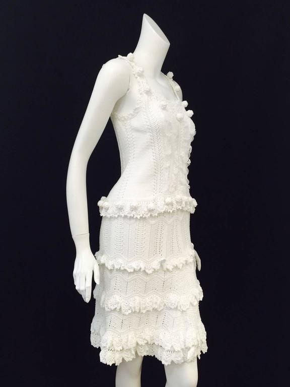 Women's Oscar de la Renta White Cotton Crochet Camisole and Skirt Ensemble  For Sale