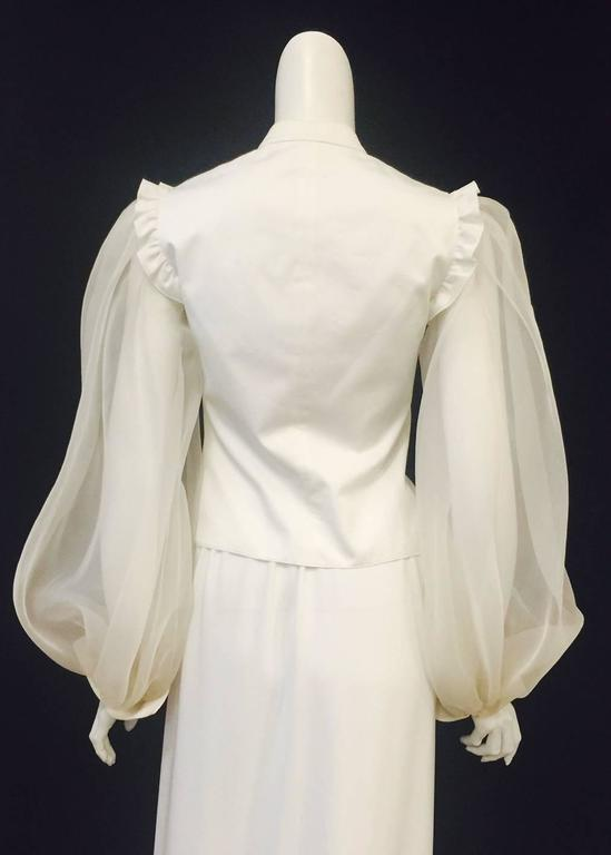 Beige Very Valentino Ivory Blouse With Voluminous Poet Sleeves and Ruffled Bodice For Sale