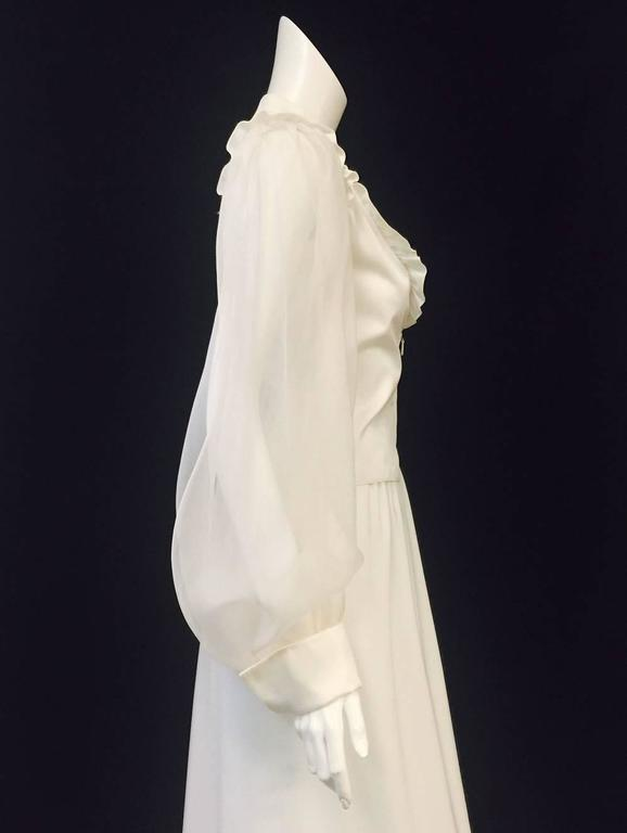 Very Valentino Ivory Blouse With Voluminous Poet Sleeves and Ruffled Bodice In Excellent Condition For Sale In Palm Beach, FL