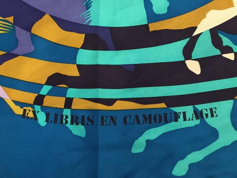 aqua and camo hermes silk twill carre ex libris en camouflage by benoit pierre